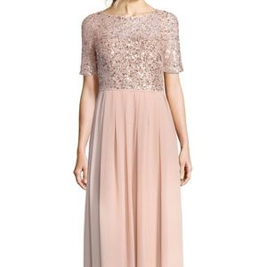 Papell Beaded Georgette Gown ROSE Size 10 #660
